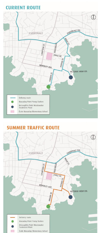 Summer Truck Traffic Route – Wastewater Treatment Project